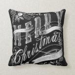 Merry Christmas Chalkboard Hand Lettering Pillow