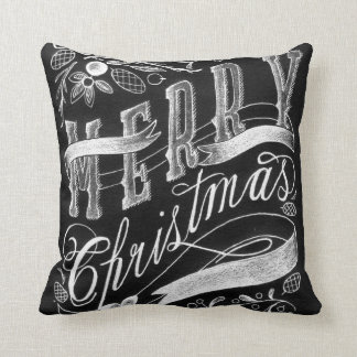 Merry Christmas Chalkboard Hand Lettering Pillow