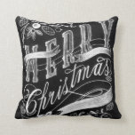 Merry Christmas Chalkboard Hand Lettering Throw Pillows