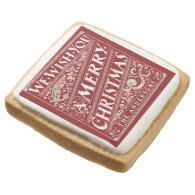 MERRY CHRISTMAS CHALKBOARD HOLIDAY COOKIES SQUARE PREMIUM SHORTBREAD COOKIE