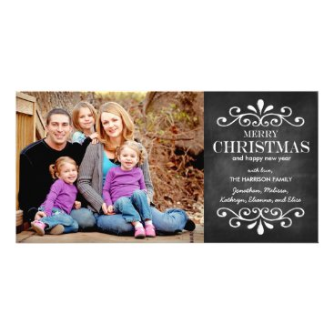 Christmas Themed Merry Christmas Chalkboard Holiday Photo Card