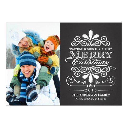 Merry Christmas Chalkboard Holiday Photo Flat Card