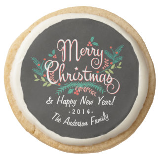 MERRY CHRISTMAS CHALKBOARD HOLLY AND BRANCHES ROUND SHORTBREAD COOKIE
