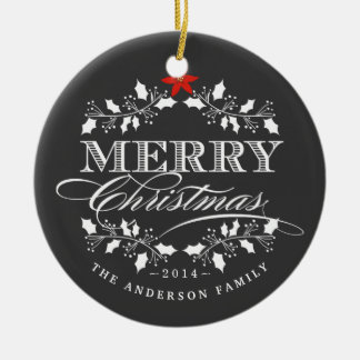 Merry Christmas Chalkboard Holly Photo Ornament