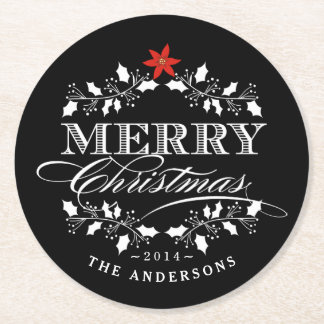 Merry Christmas Chalkboard Holly Wreath Typography Round Paper Coaster