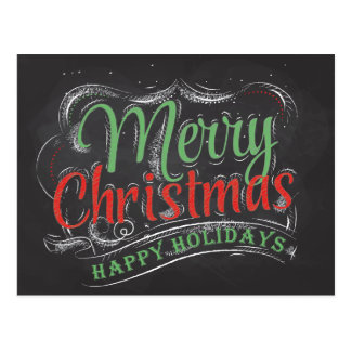 Merry Christmas Chalkboard Postcard