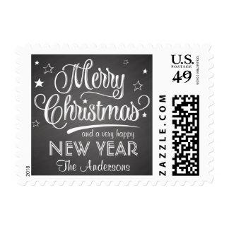 Merry Christmas Chalkboard Retro Script Postage
