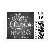 Merry Christmas Chalkboard Retro Script Postage