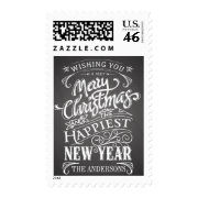 Merry Christmas Chalkboard Sign Typography Postage