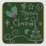 Merry Christmas Chalkboard Square Sticker