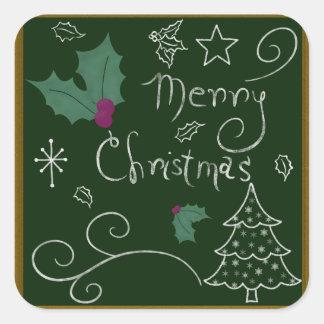 Merry Christmas Chalkboard Square Sticker