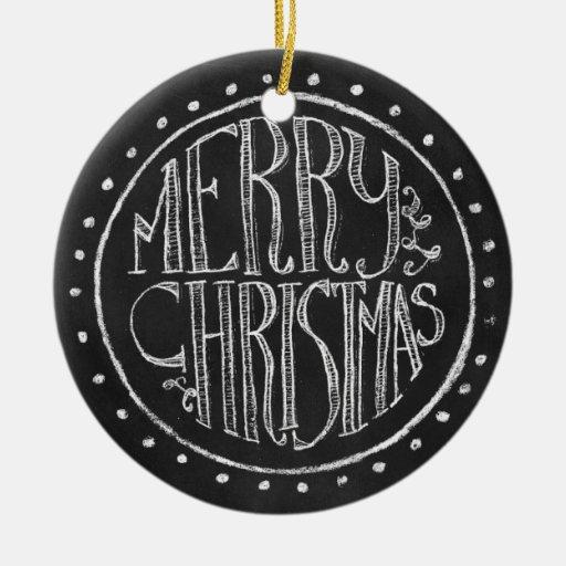 merry christmas chalkboard typography ornament zazzle