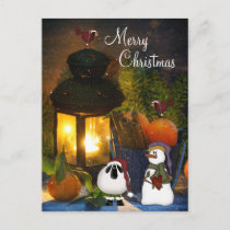 Merry Christmas Charming Snowman, Sheep and Birds Holiday Postcard
