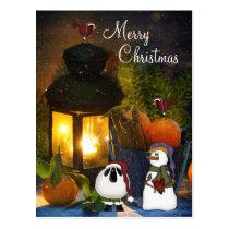 Merry Christmas Charming Snowman, Sheep and Birds Postcard