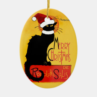 Merry Christmas -  Chat Noir Ceramic Ornament