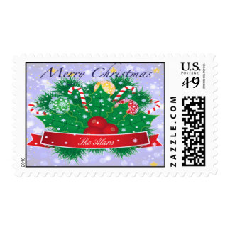 Merry Christmas Cheer Postage Stamps