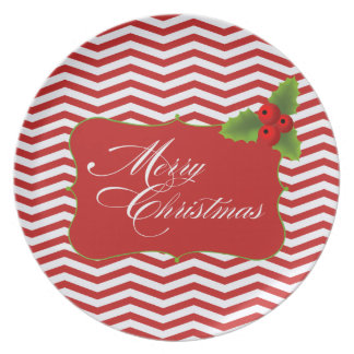 Merry Christmas Chevron Cookie Party Dinner Plate