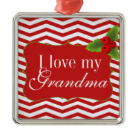 Merry Christmas Chevron I love my Grandma Ornaments