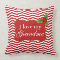 Merry Christmas Chevron I love my Grandma Pillow