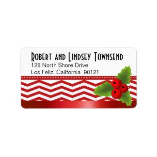 Merry Christmas Chevron Label