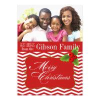 Merry Christmas Chevron Photo Holiday Custom Invites