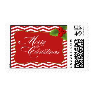 Merry Christmas Chevron Postage