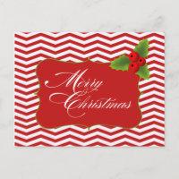 Merry Christmas Chevron Postcard