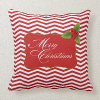 Merry Christmas Chevron Throw Pillows