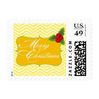 Merry Christmas Chevron | yellow white Postage