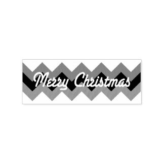 Merry Christmas Chevrons Rubber Stamp