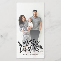 Merry Christmas Chic Hand Lettered Holiday Photo