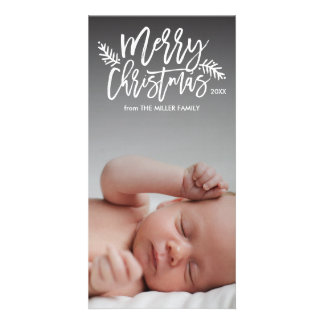 Merry Christmas Chic Hand Lettered Holiday Photo Card
