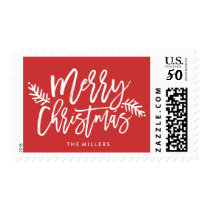 Merry Christmas Chic Hand Lettered Holiday Postage