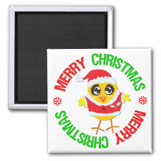 Merry Christmas Chick Snowflake 2 Inch Square Magnet