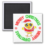 Merry Christmas Chick Snowflake Magnets