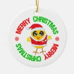 Merry Christmas Chick Snowflake Double-Sided Ceramic Round Christmas Ornament