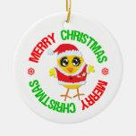 Merry Christmas Chick Snowflake Ornament