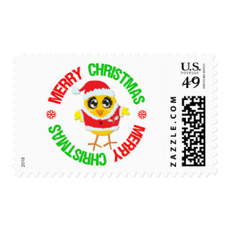 Merry Christmas Chick Snowflake Stamp