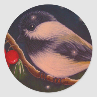 MERRY CHRISTMAS CHICKADEE BIRD Round Sticker