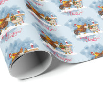 Merry Christmas Chicken and Rooster at North Pole Wrapping Paper