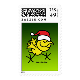 Merry Christmas Chicken Postage Stamp