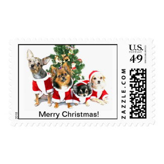 Merry Christmas Chihuahua Postage