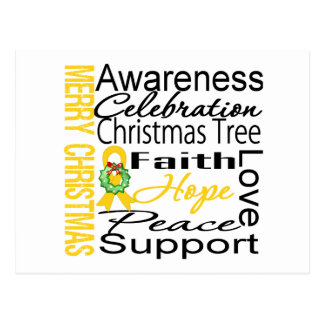 Merry Christmas Childhood Cancer Ribbon Collage Post Cards