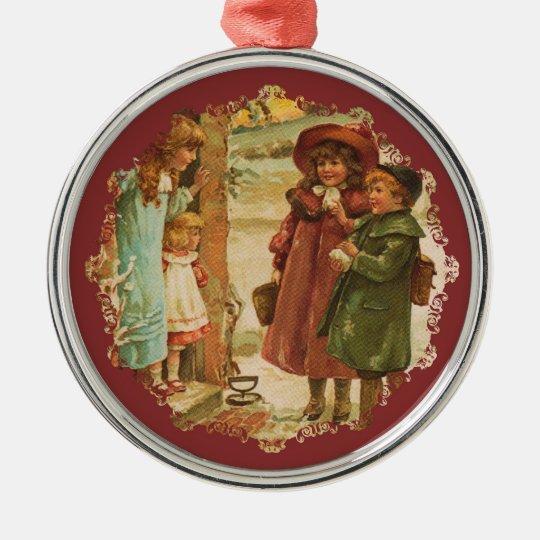 Merry Christmas Children Vintage Ornament