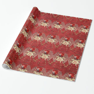 Merry Christmas - Christmas Angel - Red Gift Wrap Paper