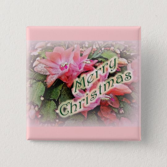Merry Christmas Christmas Cactus Flowers Button