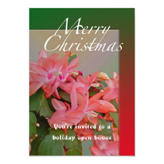 Merry Christmas Christmas Cactus Flowers 5x7 Paper Invitation Card