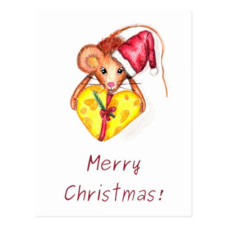 Merry Christmas! Christmas mouse with heart Postcard
