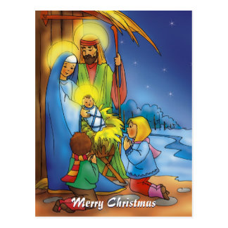 Merry Christmas | christmas stable Postcard