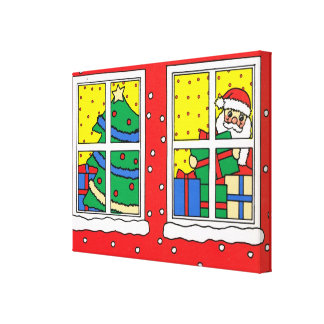 Merry Christmas, Christmas  windows Canvas Print